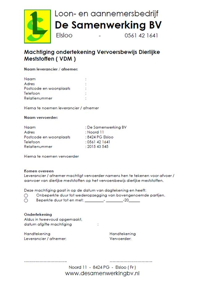 Machtiging VDM